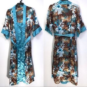 Midnight Velvet Floral Animal Satin Robe Nightgown
